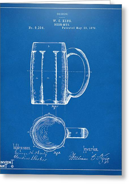 Drinkers Greeting Cards - 1876 Beer Mug Patent Artwork - Blueprint Greeting Card by Nikki Marie Smith