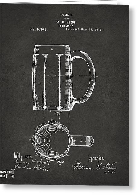 Drinkers Greeting Cards - 1876 Beer Mug Patent Artwork - Gray Greeting Card by Nikki Marie Smith