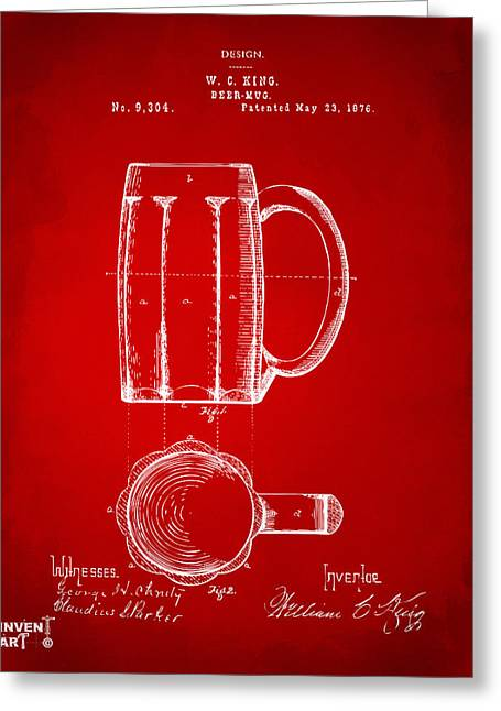 Drinkers Greeting Cards - 1876 Beer Mug Patent Artwork - Red Greeting Card by Nikki Marie Smith