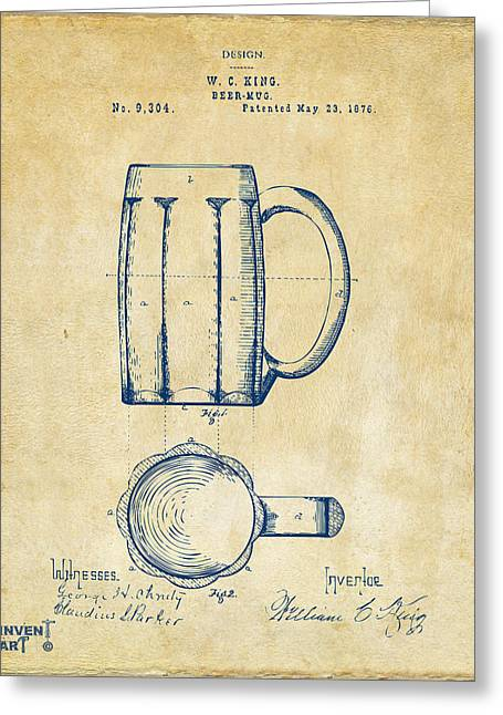 Food And Beverage Greeting Cards - 1876 Beer Mug Patent Artwork - Vintage Greeting Card by Nikki Marie Smith