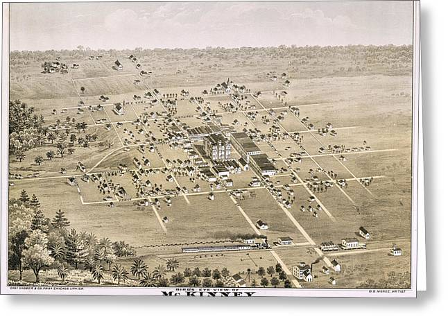 County Seat Greeting Cards - 1876 Birds Eye Map of McKinney Texas Greeting Card by Stephen Stookey