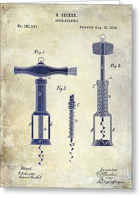Napa Valley Vineyard Greeting Cards - 1876 Corkscrew Patent Drawing 2 Tone Greeting Card by Jon Neidert