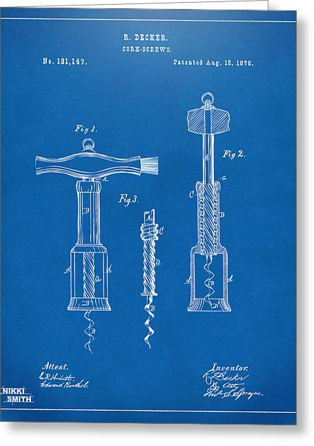 Wine Room Greeting Cards - 1876 Wine Corkscrews Patent Artwork - Blueprint Greeting Card by Nikki Marie Smith