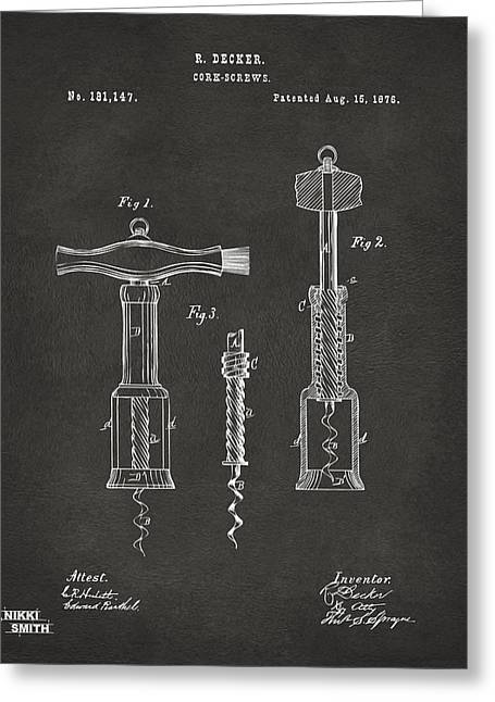 Wine Illustrations Greeting Cards - 1876 Wine Corkscrews Patent Artwork - Gray Greeting Card by Nikki Marie Smith