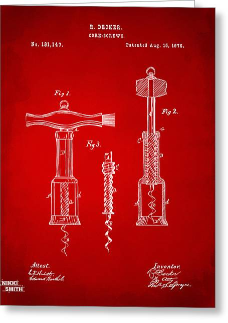 Vintage Red Wine Greeting Cards - 1876 Wine Corkscrews Patent Artwork - Red Greeting Card by Nikki Marie Smith