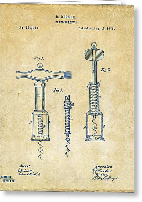 Wine Cork Greeting Cards - 1876 Wine Corkscrews Patent Artwork - Vintage Greeting Card by Nikki Marie Smith