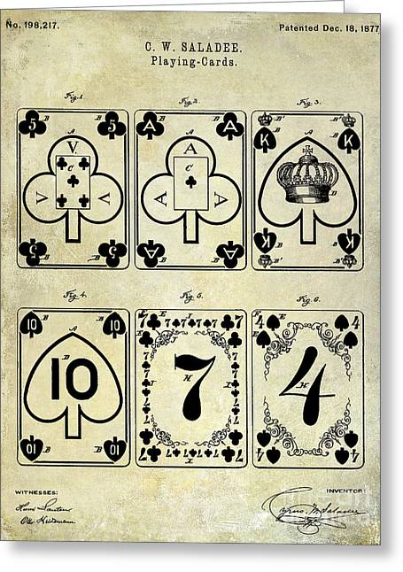 Playing Cards Photographs Greeting Cards - 1877 Playing Cards Patent Drawing  Greeting Card by Jon Neidert