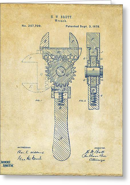 Mens Greeting Cards - 1878 Adjustable Wrench Patent Artwork - Vintage Greeting Card by Nikki Marie Smith