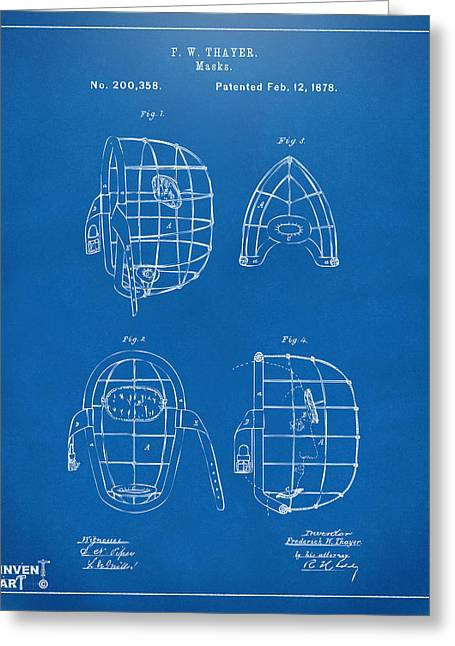 Baseball Glove Greeting Cards - 1878 Baseball Catchers Mask Patent - Blueprint Greeting Card by Nikki Marie Smith