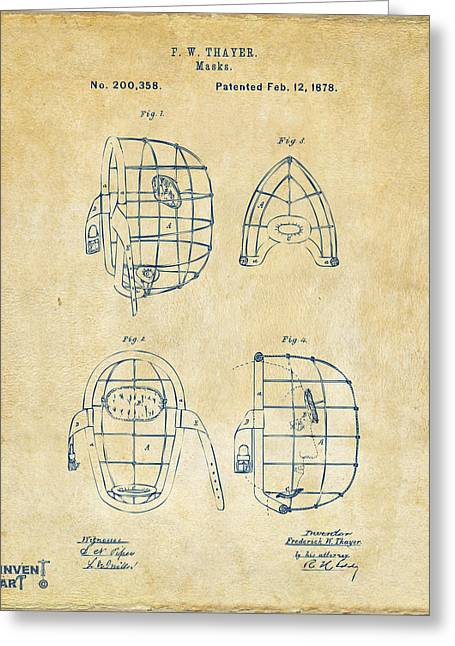 Baseball Glove Greeting Cards - 1878 Baseball Catchers Mask Patent - Vintage Greeting Card by Nikki Marie Smith