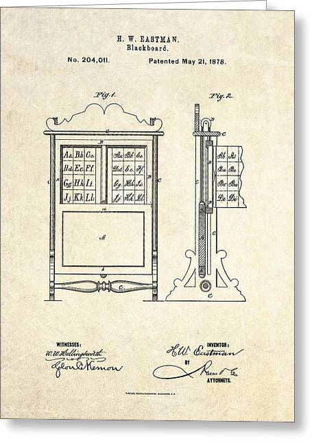 Lessons Greeting Cards - 1878 Blackboard Patent Art Greeting Card by Gary Bodnar