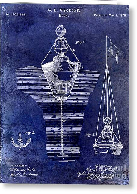 Sailing Boat Greeting Cards - 1878 Buoy Patent Drawing Blue Greeting Card by Jon Neidert