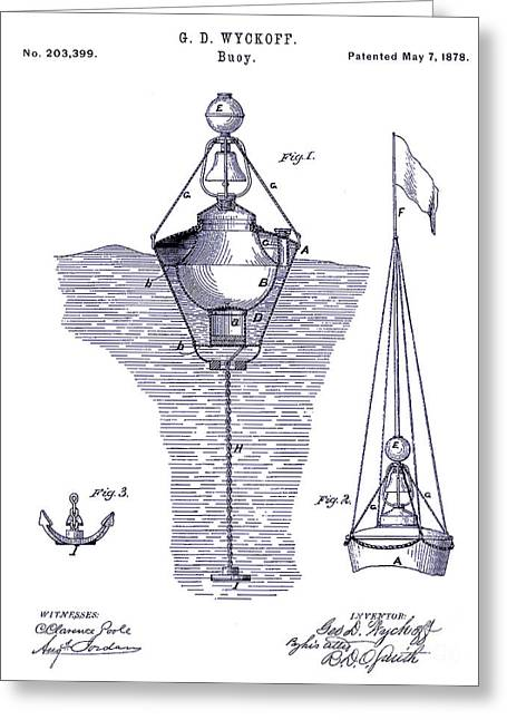 Sailing Boat Greeting Cards - 1878 Buoy Patent Drawing Blueprint  Greeting Card by Jon Neidert
