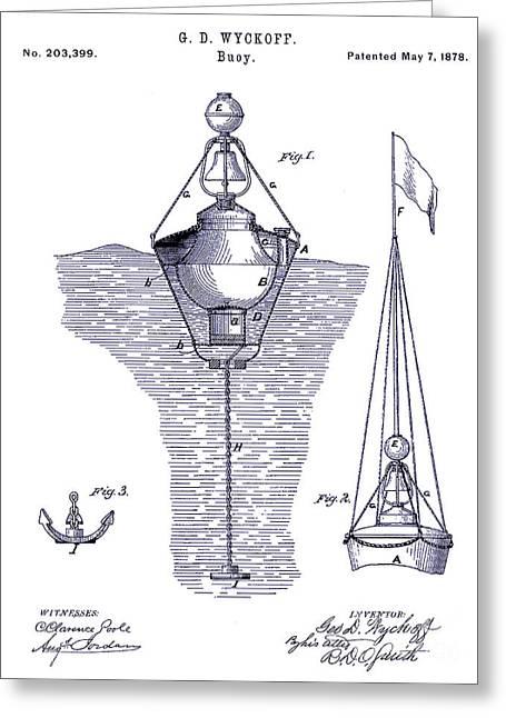 1878 Greeting Cards - 1878 Buoy Patent Drawing Blueprint  Greeting Card by Jon Neidert