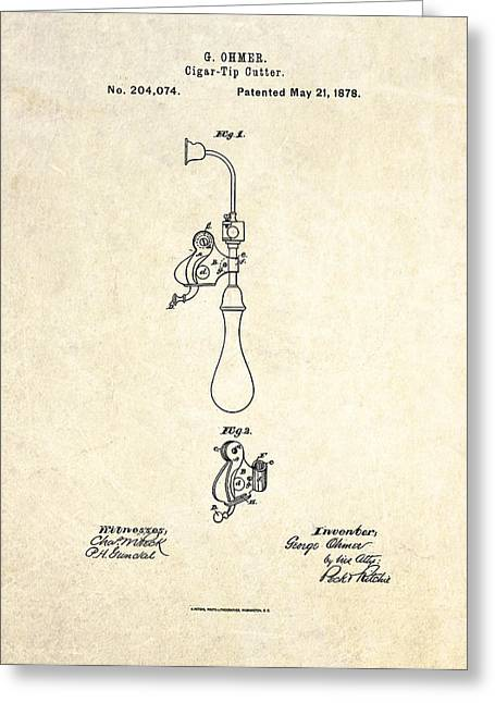 Cigar Greeting Cards - 1878 Cigar Tip Cutter Patent Art Greeting Card by Gary Bodnar