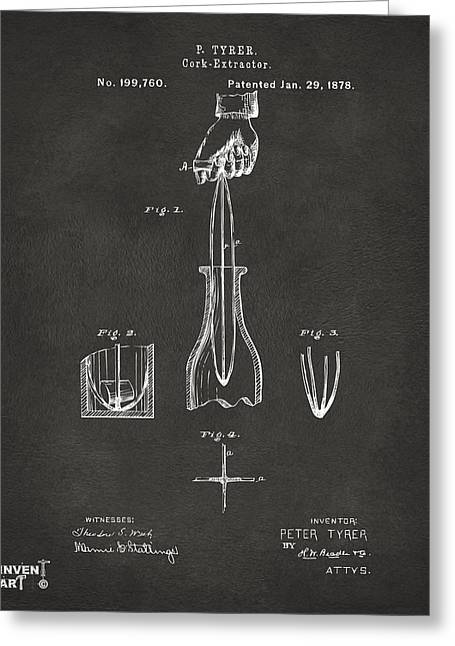 Drinkers Greeting Cards - 1878 Cork Extractor Patent Artwork - Gray Greeting Card by Nikki Marie Smith