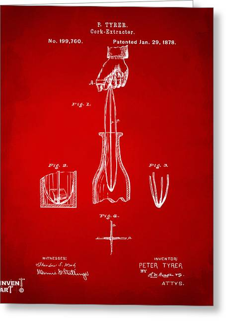 Drinkers Greeting Cards - 1878 Cork Extractor Patent Artwork - Red Greeting Card by Nikki Marie Smith