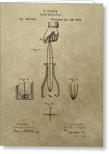 Winery Photography Greeting Cards - 1878 Cork Extractor Patent Greeting Card by Dan Sproul