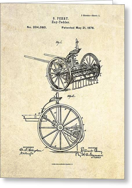 Equipment Drawings Greeting Cards - 1878 Hay Tedder Patent Art Greeting Card by Gary Bodnar