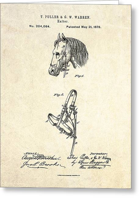 Equipment Drawings Greeting Cards - 1878 Horse Halter Patent Art Greeting Card by Gary Bodnar