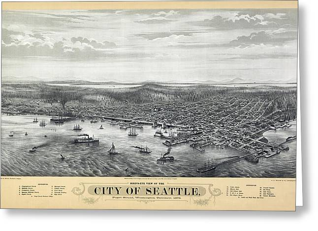 Microsoft. Greeting Cards - 1878 Seattle Washington Map Greeting Card by Daniel Hagerman