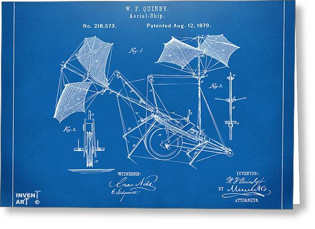 Aerial Greeting Cards - 1879 Quinby Aerial Ship Patent - Blueprint Greeting Card by Nikki Marie Smith