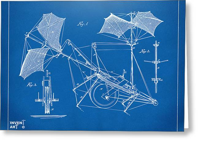 Conversations Greeting Cards - 1879 Quinby Aerial Ship Patent Minimal - Blueprint Greeting Card by Nikki Marie Smith