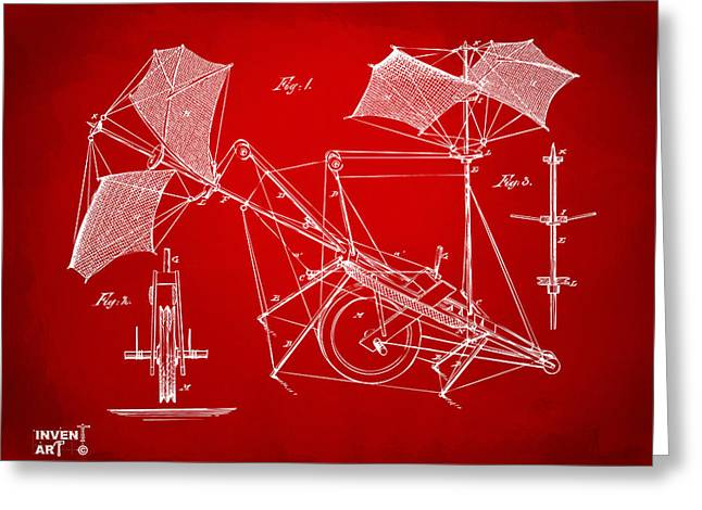 Conversations Greeting Cards - 1879 Quinby Aerial Ship Patent Minimal - Red Greeting Card by Nikki Marie Smith