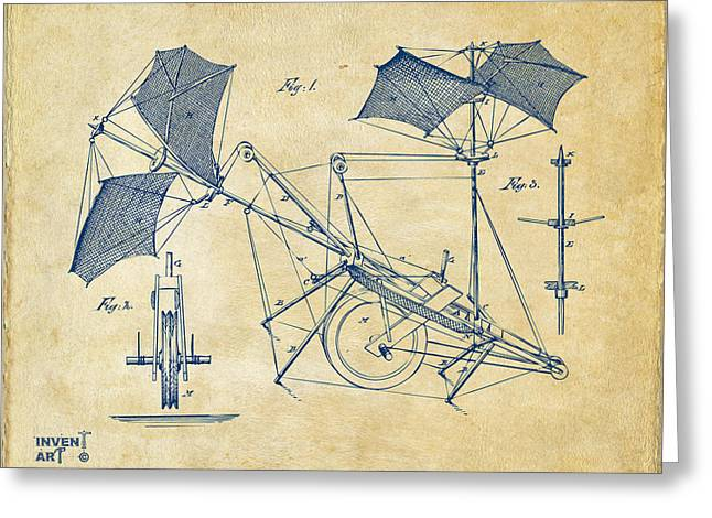 Conversation Piece Greeting Cards - 1879 Quinby Aerial Ship Patent Minimal - Vintage Greeting Card by Nikki Marie Smith