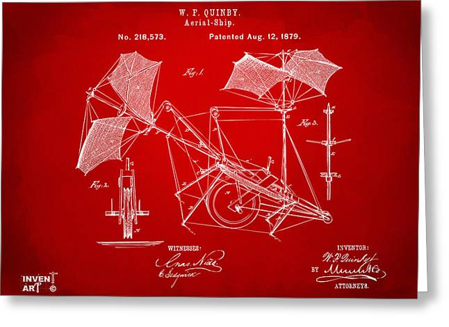 1879 Quinby Aerial Ship Patent - Red Greeting Card by Nikki Marie Smith