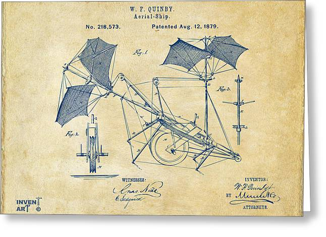 Patent Artwork Greeting Cards - 1879 Quinby Aerial Ship Patent - Vintage Greeting Card by Nikki Marie Smith
