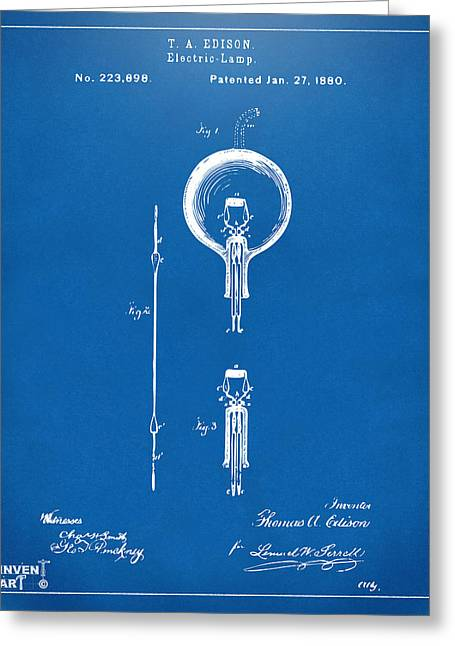 Edison Greeting Cards - 1880 Edison Electric Lamp Patent Artwork Blueprint Greeting Card by Nikki Marie Smith