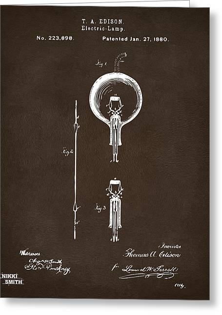 Cave Greeting Cards - 1880 Edison Electric Lamp Patent Artwork Espresso Greeting Card by Nikki Marie Smith