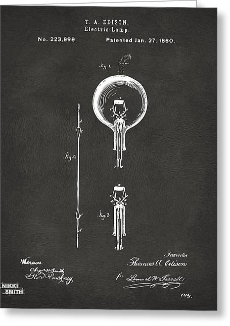 Electricity Greeting Cards - 1880 Edison Electric Lamp Patent Artwork - Gray Greeting Card by Nikki Marie Smith