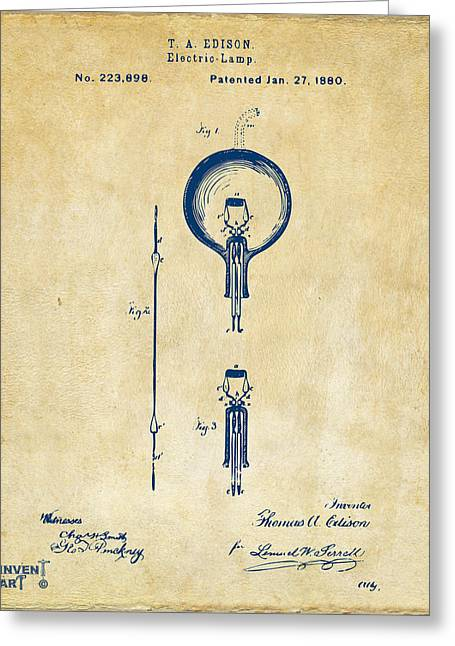 Edison Greeting Cards - 1880 Edison Electric Lamp Patent Artwork Vintage Greeting Card by Nikki Marie Smith
