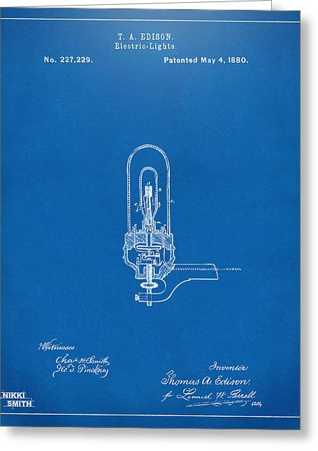 Electricity Greeting Cards - 1880 Edison Electric Lights Patent Artwork - Blueprint Greeting Card by Nikki Marie Smith