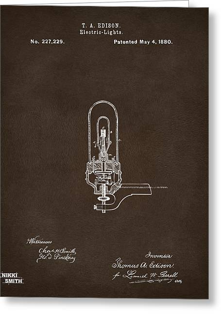Electricity Greeting Cards - 1880 Edison Electric Lights Patent Artwork Espresso Greeting Card by Nikki Marie Smith