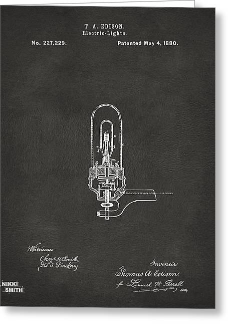 Electricity Greeting Cards - 1880 Edison Electric Lights Patent Artwork - Gray Greeting Card by Nikki Marie Smith