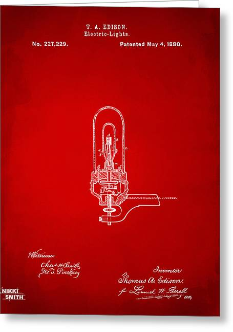 Electricity Greeting Cards - 1880 Edison Electric Lights Patent Artwork - Red Greeting Card by Nikki Marie Smith