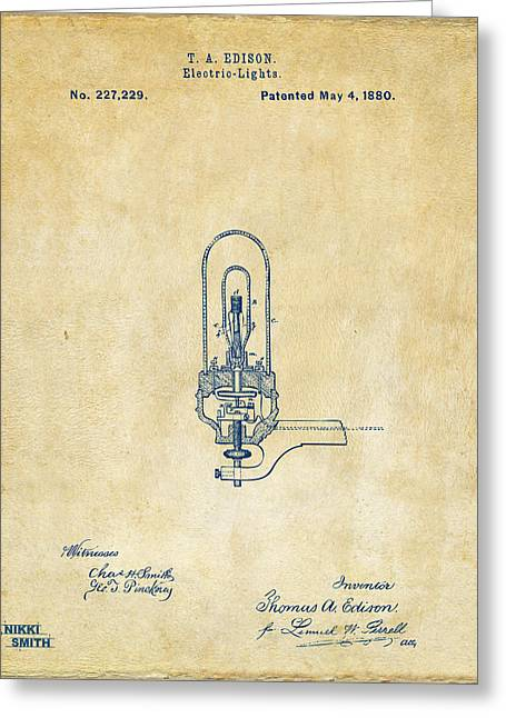 Electricity Greeting Cards - 1880 Edison Electric Lights Patent Artwork - Vintage Greeting Card by Nikki Marie Smith