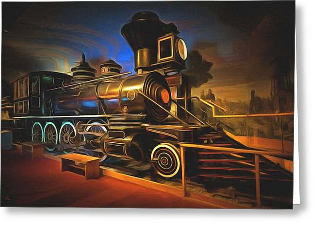 Vintage Painter Greeting Cards - 1880 Steam Locomotive  Greeting Card by L Wright