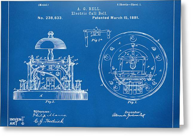 Conversations Greeting Cards - 1881 Alexander Graham Bell Electric Call Bell Patent Blueprint Greeting Card by Nikki Marie Smith