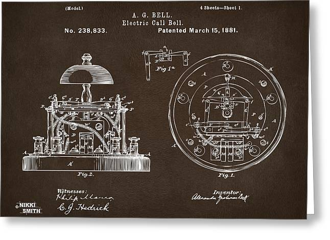 Conversations Greeting Cards - 1881 Alexander Graham Bell Electric Call Bell Patent Espresso Greeting Card by Nikki Marie Smith