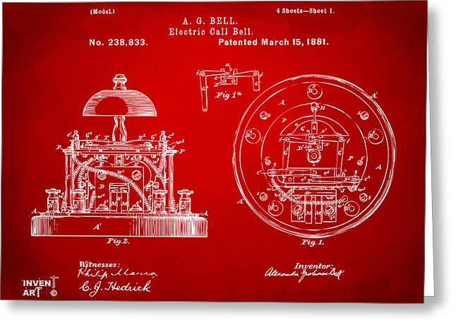 Innovator Greeting Cards - 1881 Alexander Graham Bell Electric Call Bell Patent Red Greeting Card by Nikki Marie Smith