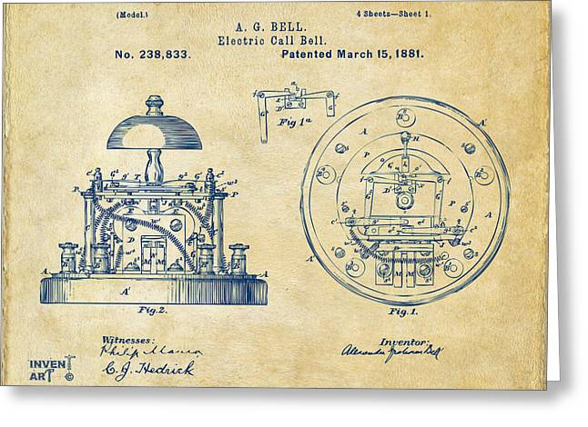 Conversations Greeting Cards - 1881 Alexander Graham Bell Electric Call Bell Patent Vintage Greeting Card by Nikki Marie Smith