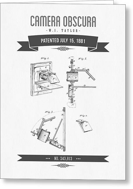 Camera Greeting Cards - 1881 Camera Obscura  Patent Drawing - Retro Gray Greeting Card by Aged Pixel