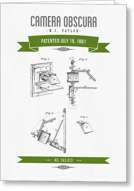 Camera Greeting Cards - 1881 Camera Obscura  Patent Drawing - Retro Green Greeting Card by Aged Pixel