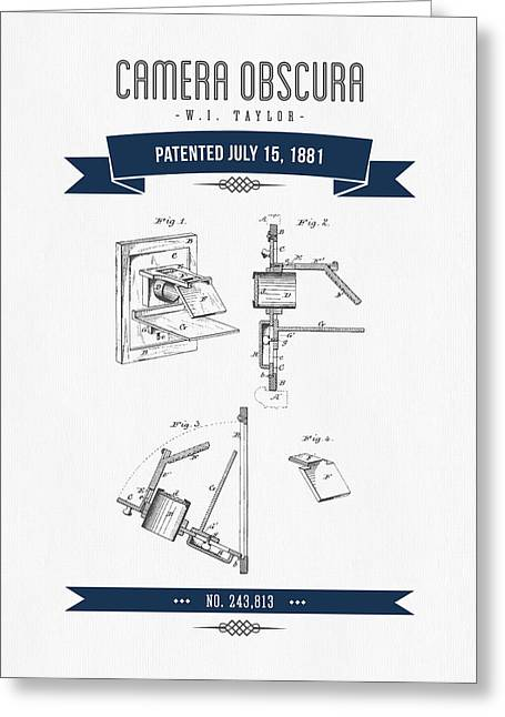 Old Camera Greeting Cards - 1881 Camera Obscura  Patent Drawing - Retro Navy Blue Greeting Card by Aged Pixel