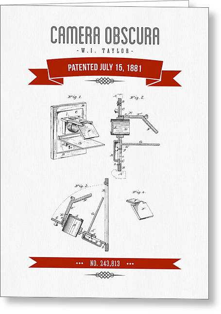 Camera Greeting Cards - 1881 Camera Obscura  Patent Drawing - Retro Red Greeting Card by Aged Pixel