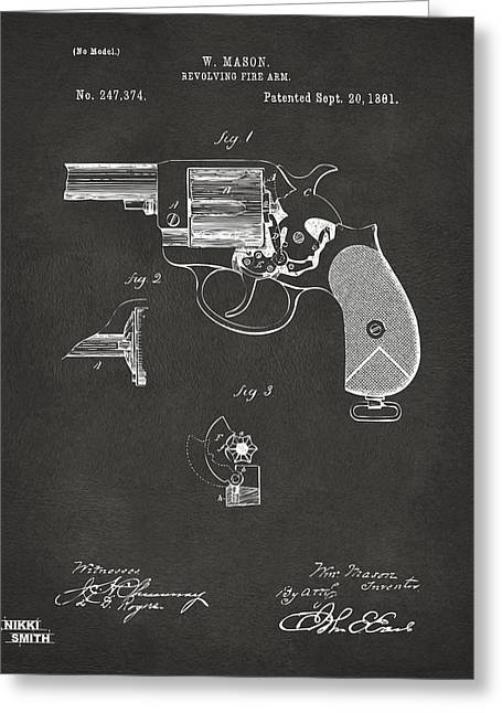 Fire Arm Greeting Cards - 1881 Mason Colt Revolving Fire Arm Patent Artwork - Gray Greeting Card by Nikki Marie Smith
